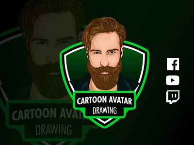 Cartoon Avatar for YouTube, Facebook, Twitch hand drawn art mustaches hair icon men drawing avatar shield beard artwork digital art illustration vector