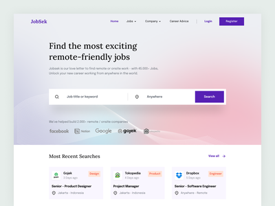 Jobsek - Job Finder Website job finder job search platform job search job web design web landing page design ux