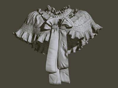 WIP shoulder cape digital sculpt clothes modeling clothing sculpt zbrush art 3d