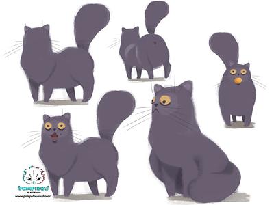 Pompidou illustration creation aftereffects photoshop cartoon animation art cat