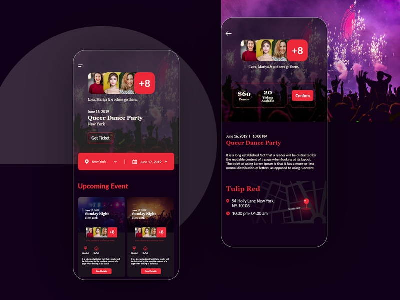 Night party booking UI