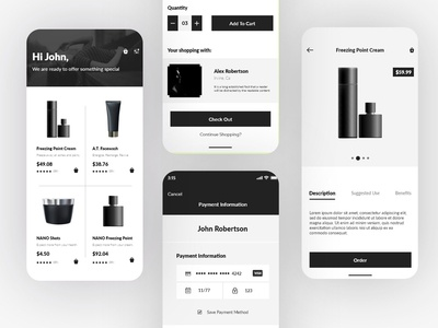 Elegant Black & White e-Commerce UI design