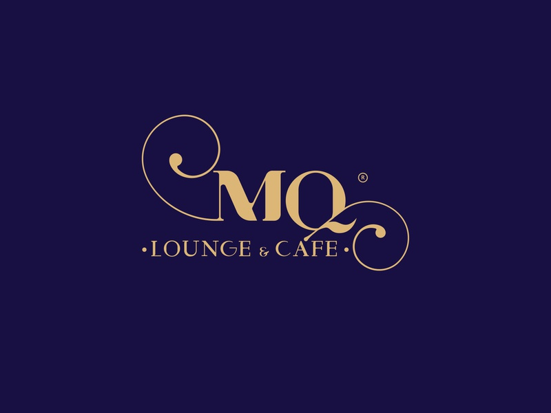 MQ Logo blue golden graphic design art logotype letters m lounge typography coffee arab egypt saudi icon branding idea logo design