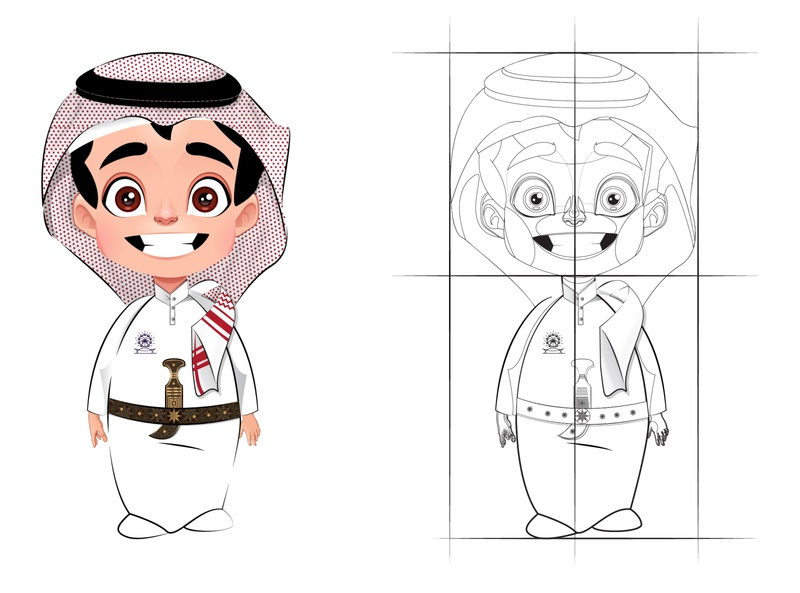 Character design ui idea illustration vector cartoon character traditional concept sketch animation boy cartoon character saudi arab