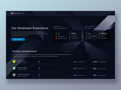 Developer Experience at VMware competition dashboards virtual infrastructure infrastructure data complexity enterprise ux enterprise vmware design apis vmware developer experience leaderboard api