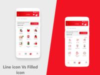 Line icon vs Filled Icon concept