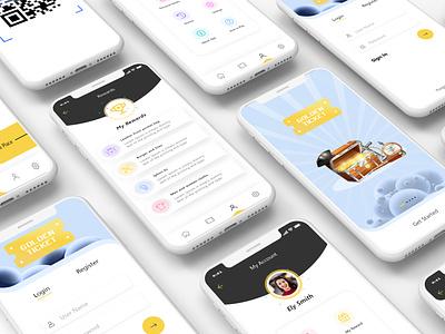 Treasure hunt game minimal ui flat design app ux