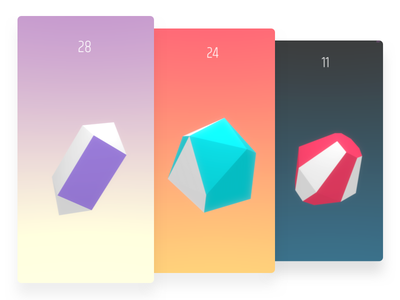 Geotap Game Screens shapes app 3d low poly gradients mobile game