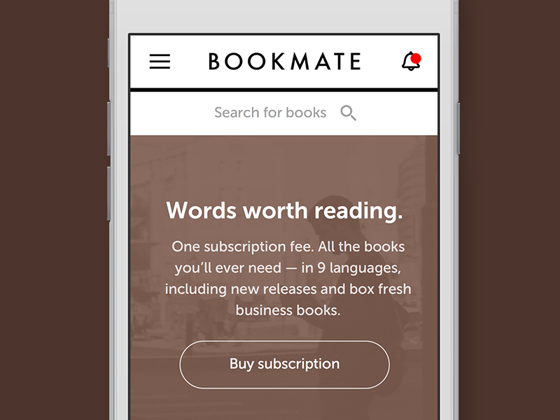 Mobile version of Bookmate bookmate ui ux books