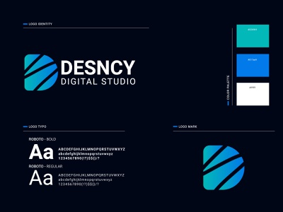 Desncy Digital Studio logo a day graphic logo animation logo design flat branding logo creative agency digital studio design desncy digital studio desncy logo