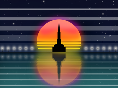 Sunset... night notte design style dribble romano gabriele drawing sunset