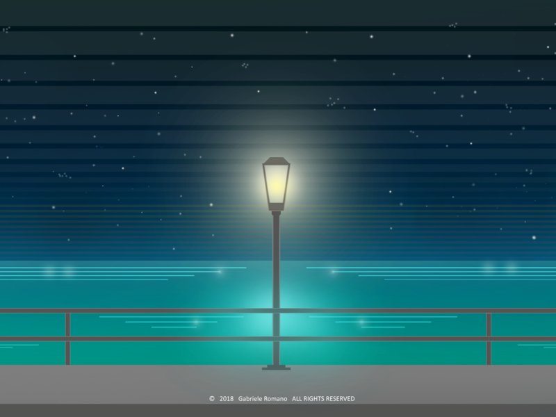 7bigone1 newretro 80s reflections lamp lights night sea mare