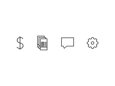 Simple Icons finance simple rectilinear icons money billing bills support setting admin