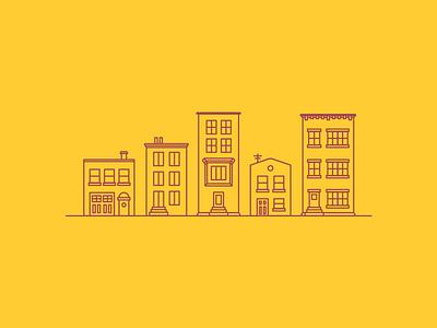 City Block illustration urban city buildings brownstone apartment autumn