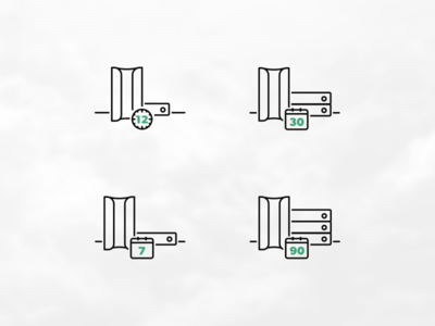 Cloud Things icons vector illustration canary server time