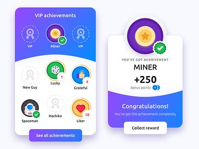 Achievements UI reward badges gamification achievements