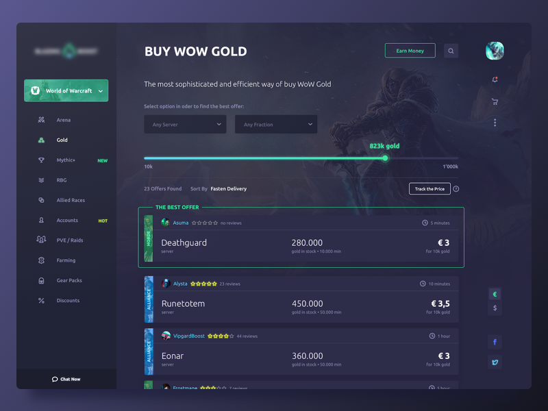 Boost for World of Warcraft by Aydar Rakimov on Dribbble