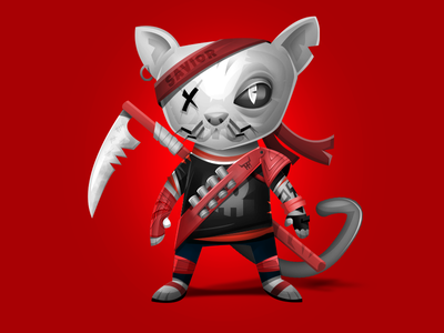 Hellcat art game warrior cute cat
