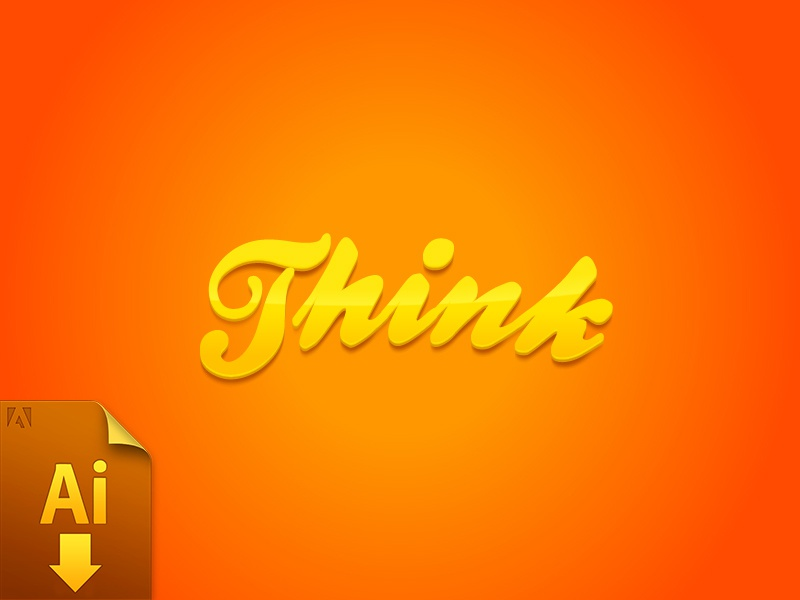 Think - Free Illustrator Text Effect Apperance Logo effect vector illustrator free freebie illustrator cc text typography ai colors font