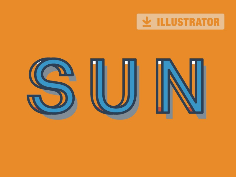 Sun - Free Automated Text Effect Vintage Illustrator type style vintage typography font ai colors effect text vector freebie free