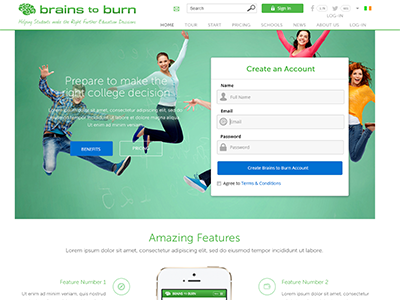 Brains To Burn app signup secondary school student educational