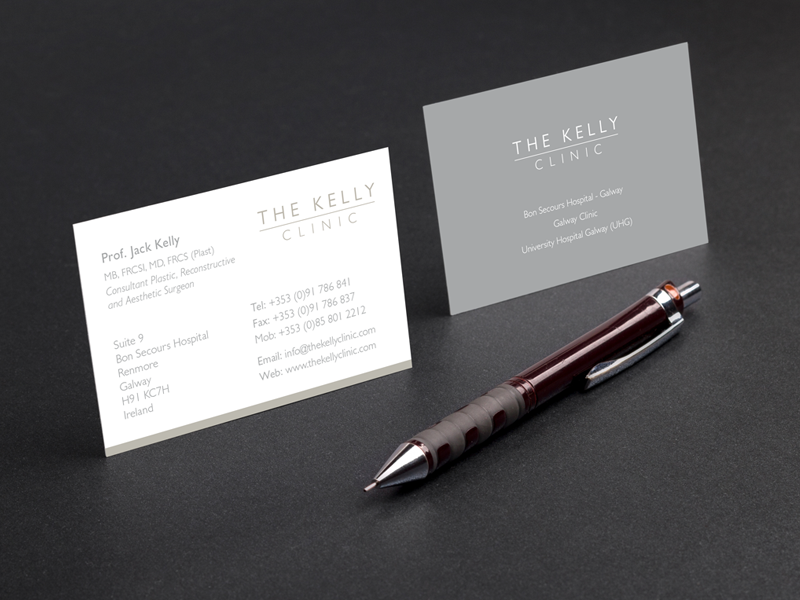 Kelly Clinic Business Card plastic surgeon logo design business card