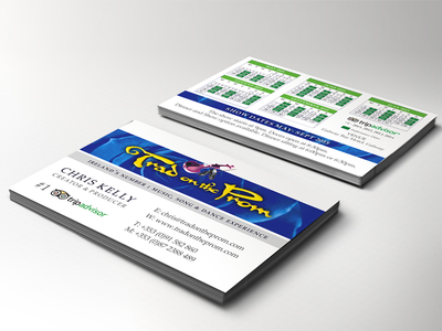 Trad On The Prom Business Card print desing graphic design irish music blue card print design calendar business card