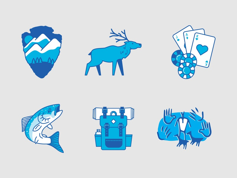 Jackson County | Illustration Set adventure outdoors fishing camping hiking trout casino poker elk national park county blue two color icon set illos illustration set