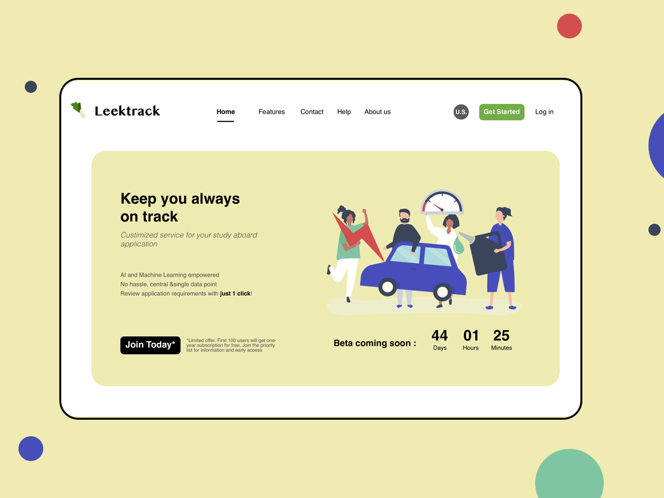 Study Abroad DIY Management Tool landing page