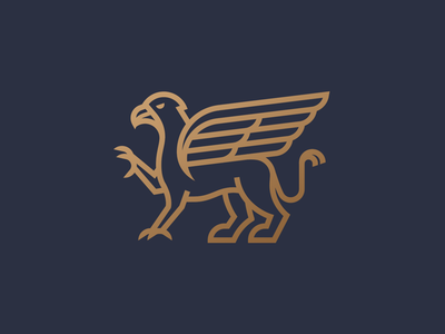 Griffin beak bird lion claw wing eagle geometric line logo griffin