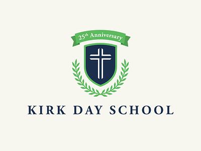 KDS 1 academic private anniversary olive branch leaf school banner cross crest shield logo