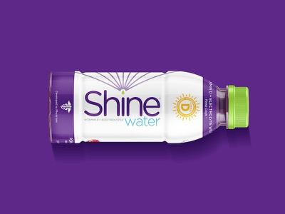 Shine Water mockup logo energy vitamin drink water label bottle