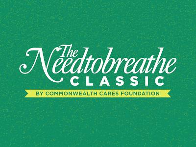 NEEDTOBREATHE Classic turf tourney script commonwealth cares oneworld health grass golf logo