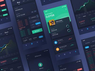 Block chain design icon ux ui app