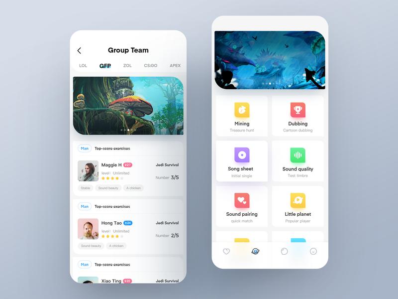 Game practice interface、app design icon ux ui app