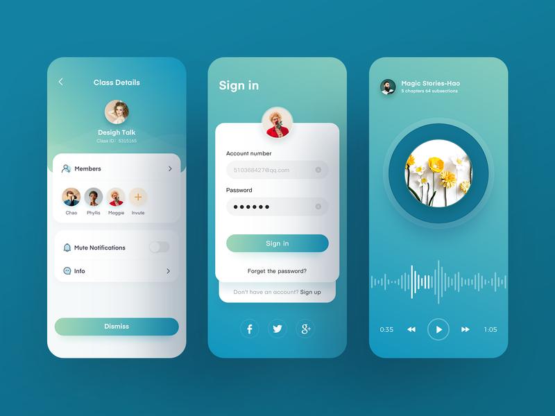 Educational Application design icon ux ui app