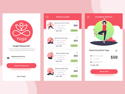Yogaapp page-2 yoga redesign creativeui graphics flatui ui photoshop illustrator