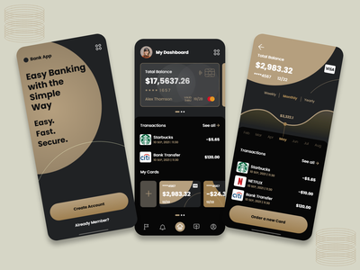 Banking App UI Design adobxd design bankingapp fatui ui photoshop