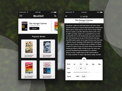 Bookshelf Ui Screens illustrator ui design photoshop