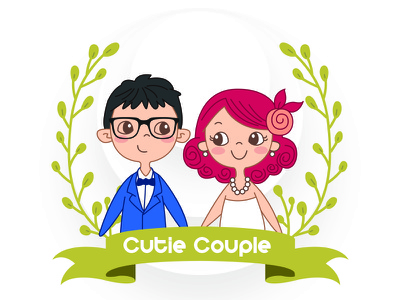Cutie Couple couple graphic vector flat icon