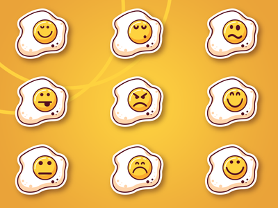 Eggie Smiles flat icons vector