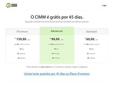 CIMM - Price table web ui plans pricing