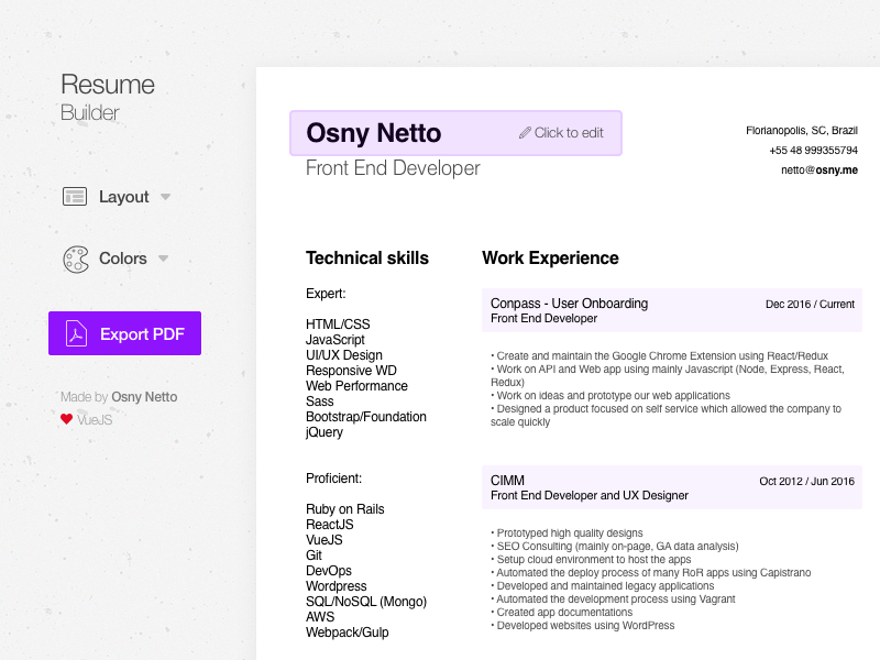 resume builder by osny netto