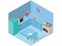 Isometric Blue Kitchen