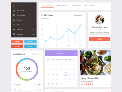 Freebie Sketch UI Kit: Recipe Webapp