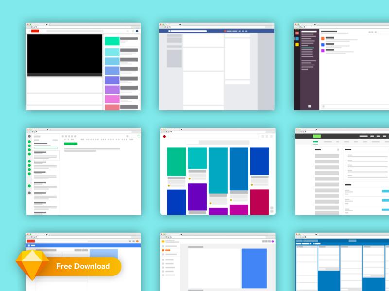 Freebie! Popular Web App Layouts wireframe blockframe dashboard kit ui sketch freebie free template layout web app