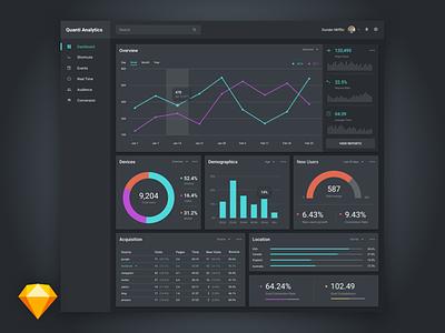 Free Dark & Light Data Visualization UI Kit analytics chart graph data dashboard app web template sketch kit ui free