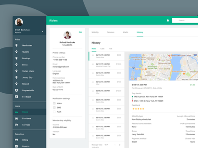 Ride Service: Account summary receipt account service ride car review history profile dashboard app web