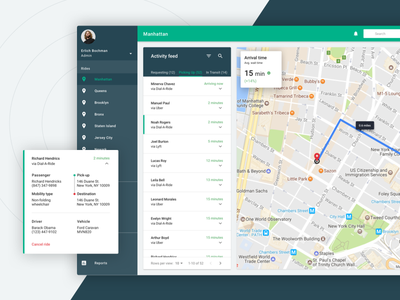 Ride Service: Activity Feed active summary material feed service ride map dashboard app web