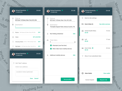 Ride Service: New Ride map request settings directions ride drive material dashboard saas app website web